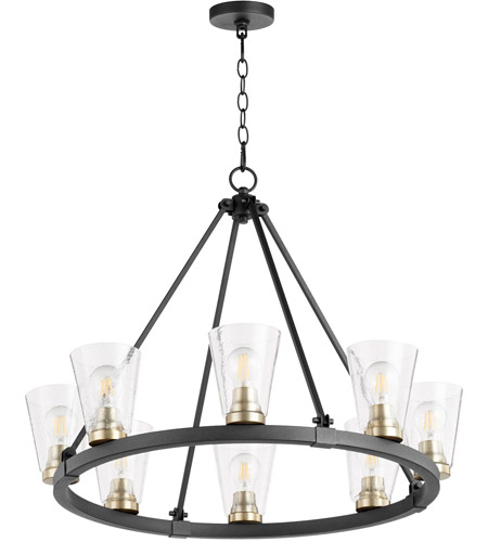 Quorum 63 8 6980 Paxton 8 Light 31 Inch Noir With Aged Brass Chandelier Ceiling Light