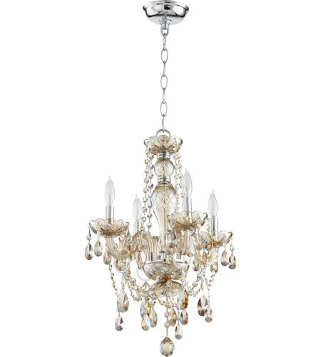Quorum 630 4 614 Bohemian Katerina 4 Light 16 Inch Chrome Chandelier Ceiling Light In Cognac Crystal