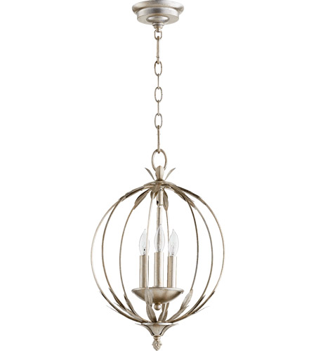Quorum 6372 3 60 Flora 3 Light 13 Inch Aged Silver Leaf Chandelier