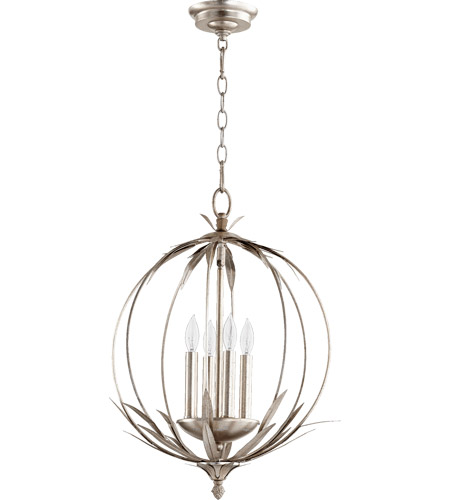 Quorum 6372 4 60 Flora 4 Light 15 Inch Aged Silver Leaf Chandelier