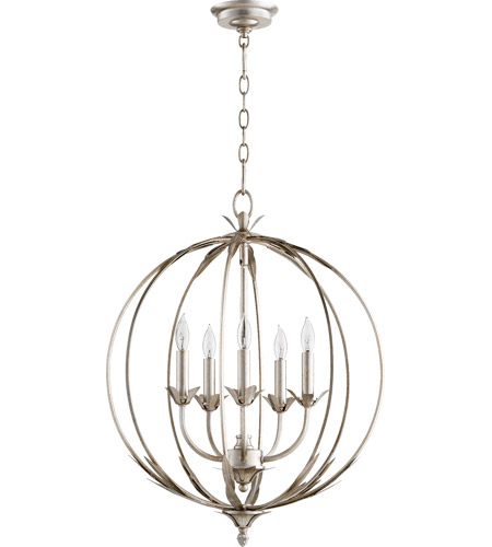 Quorum 6372 5 60 Flora 5 Light 20 Inch Aged Silver Leaf Chandelier