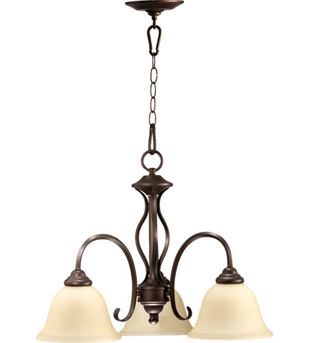 Quorum 6410-3-86 Spencer 3 Light 21 inch Oiled Bronze Dinette Chandelier Ceiling Light in Amber Scavo photo