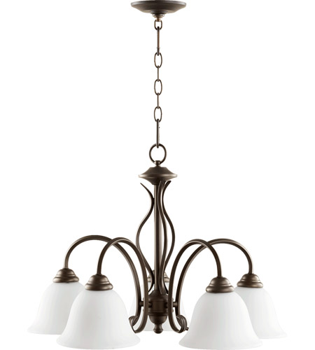 Quorum 6410-5-186 Spencer 5 Light 24 inch Oiled Bronze Nook Chandelier Ceiling Light in Satin Opal photo thumbnail