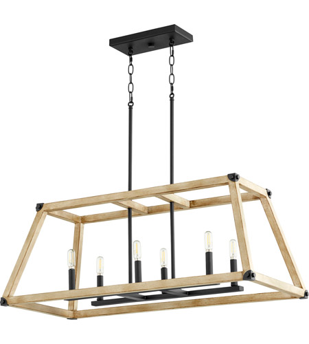 Quorum 6589-6-69 Alpine 6 Light 36 inch Noir with Driftwood Linear Pendant Ceiling Light photo