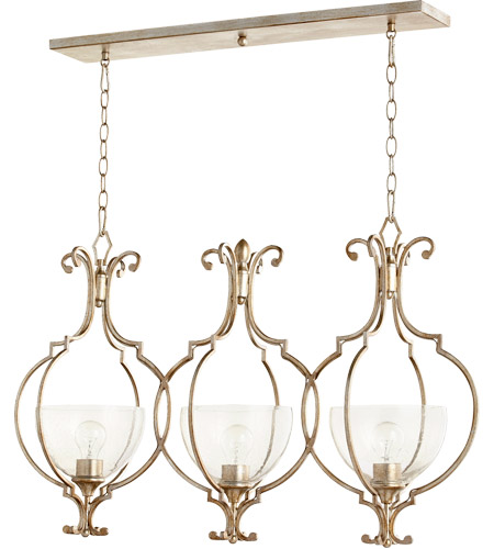Quorum 6614-3-60 Ansley 3 Light 37 inch Aged Silver Leaf Island Light Ceiling Light photo