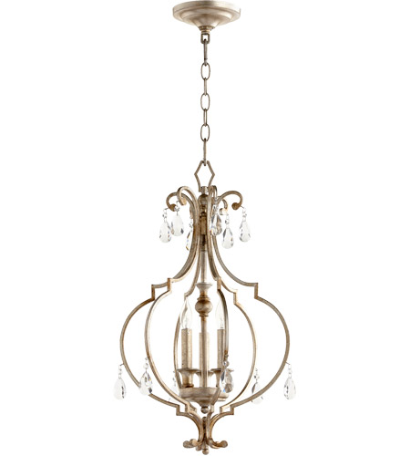 Quorum 6714-3-60 Ansley 3 Light 14 inch Aged Silver Leaf Foyer Pendant Ceiling Light photo