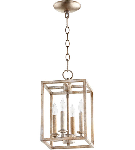 Quorum 6731-4-160 Signature 4 Light 8 inch Aged Silver Leaf Foyer Pendant Ceiling Light photo