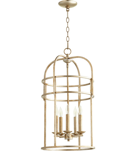 Quorum 6733-5-60 Signature 5 Light 14 inch Aged Silver Leaf Foyer Pendant Ceiling Light photo thumbnail