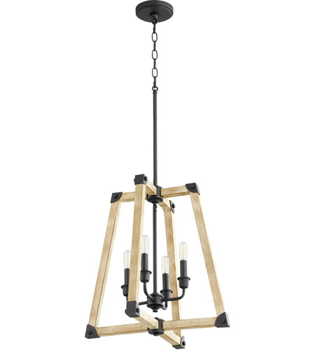 Quorum 6789-4-69 Alpine 4 Light 18 inch Noir with Driftwood Entry Pendant Ceiling Light photo