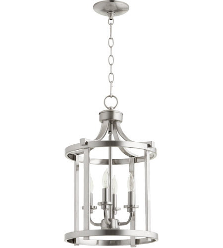 Quorum 6807 4 65 Lancaster Light 13 Inch Satin Nickel Foyer Pendant Ceiling