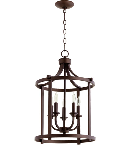 Quorum 6807 5 86 Lancaster Light 16 Inch Oiled Bronze Foyer Pendant Ceiling