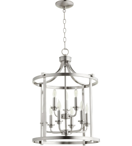 Quorum 6807 9 65 Lancaster Light 18 Inch Satin Nickel Foyer Pendant Ceiling