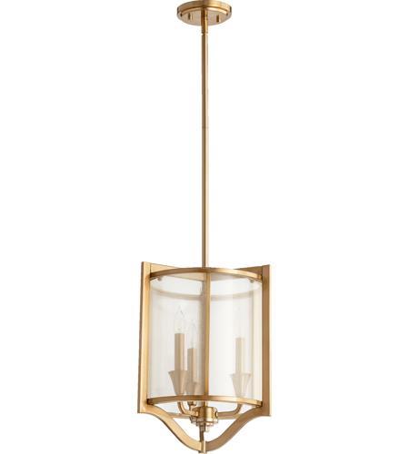 Quorum 682 3 80 Highline 3 Light 13 Inch Aged Brass Pendant Ceiling Light