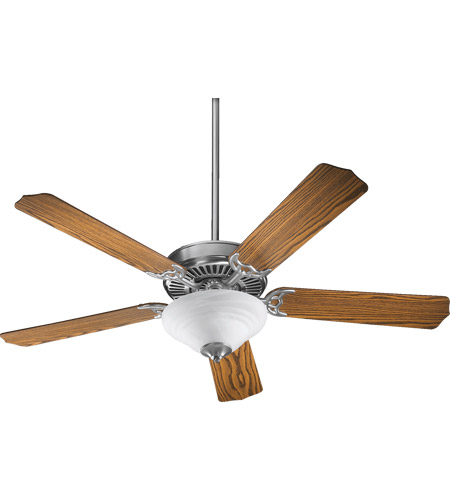 Quorum 77525-9565 Capri III 52 inch Satin Nickel with Dark Oak Blades Ceiling Fan in Faux Alabaster, Candelabra photo