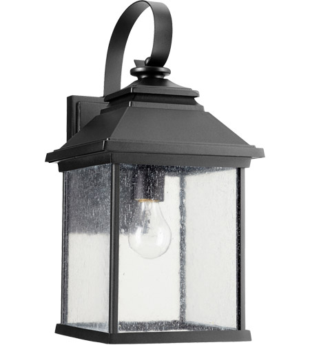 Quorum 7940-9-69 Pearson 18 inch Noir Outdoor Wall Lantern, Clear Seeded photo