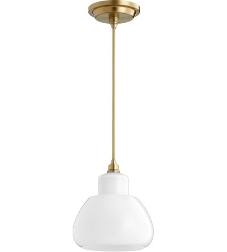 Quorum 8000-180 Signature 1 Light 7 inch Aged Brass Pendant Ceiling Light photo thumbnail