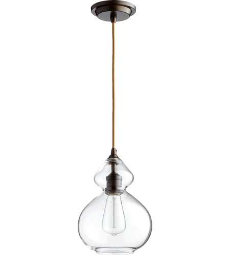Quorum 8002-86 Signature 1 Light 8 inch Oiled Bronze with Clear Pendant Ceiling Light photo