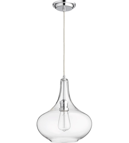 Quorum 8004 14 Signature 1 Light 11 Inch Chrome With Clear Pendant Ceiling