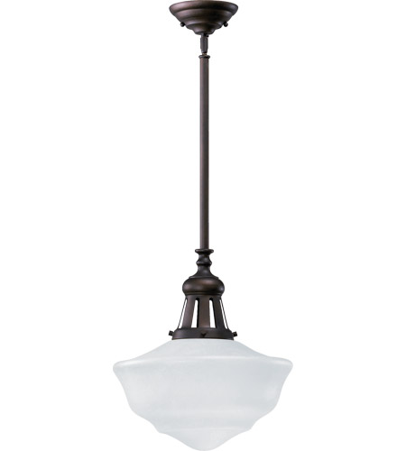 Quorum 801-15-186 Schoolhouse 1 Light 15 inch Oiled Bronze Pendant Ceiling Light in Opal photo
