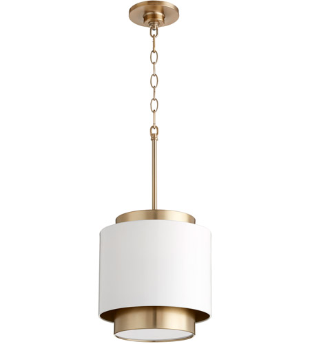 Quorum 8010 0880 Fort Worth 1 Light 11 Inch Studio White And Aged Brass Mini Pendant Ceiling Light
