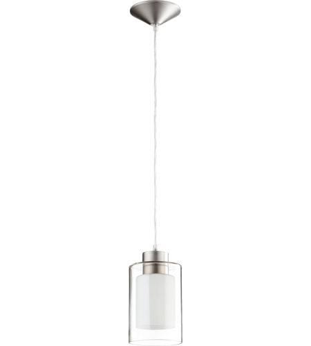 Quorum 882-165 Fort Worth 1 Light 5 inch Satin Nickel Clear and White Mini Pendant Ceiling Light photo