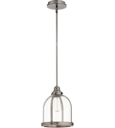 Quorum 886 92 Banded Dome 1 Light 10 Inch Antique Silver Mini Pendant Ceiling Light