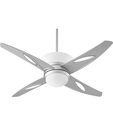 Quorum International Astra 1 Light Ceiling Fan in Brushed Aluminum with  Grey Blades 89524-16