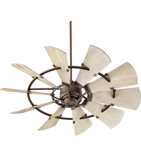 Quorum 95210-86 Windmill 52 inch Oiled Bronze with Weathered Oak Blades Indoor Ceiling Fan  photo