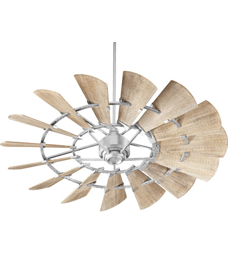 Quorum 96015-9 Windmill 60 inch Galvanized with Weathered Oak Blades Indoor Ceiling Fan photo