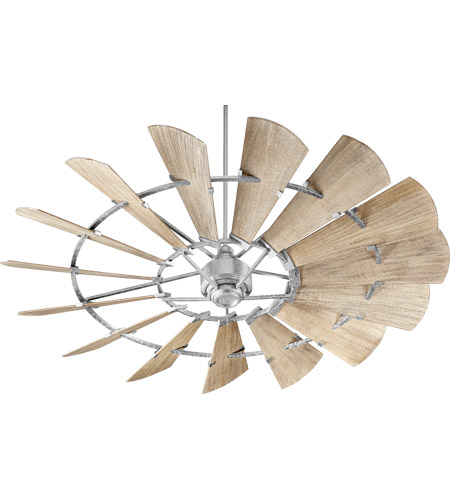 Quorum 97215-9 Windmill 72 inch Galvanized with Weathered Oak Blades Indoor Ceiling Fan  photo