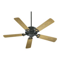 Quorum 143525-59 Estate Patio 52 inch Matte Black with Medium Oak Blades Outdoor Ceiling Fan in Light Kit Not Included