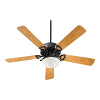 Quorum 143525-959 Estate Patio 52 inch Matte Black with Medium Oak Blades Outdoor Ceiling Fan in Satin Opal