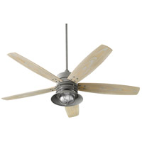 Quorum 14605-17 Portico 60 inch Zinc with Weathered Oak Blades Outdoor Ceiling Fan