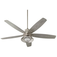 Portico 60 inch Satin Nickel with Silver Blades Outdoor Ceiling Fan