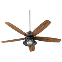 Quorum 14605-69 Portico 60 inch Noir with Walnut Blades Outdoor Ceiling Fan