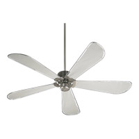 Dragonfly Patio Satin Nickel with Grey Water Resistant Canvas Blades Outdoor Ceiling Fan