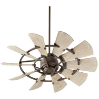 Quorum 194410-86 Windmill 44 inch Oiled Bronze with Weathered Oak Blades Patio Fan blade material is aluminum.