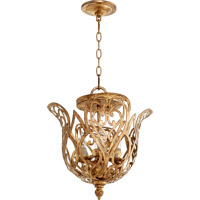 Quorum 2192-4-30 Le Monde 4 Light 15 inch Vintage Gold Leaf Dual Mount Ceiling Light