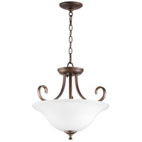 Quorum 2753-18186 Celesta 18 inch Oiled Bronze Dual Mount Pendant Ceiling Light, Satin Opal