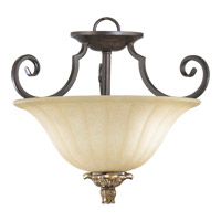Capella 2 Light 15 inch Toasted Sienna With Golden Fawn Dual Mount Ceiling Light