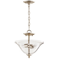 Spencer 13 inch Aged Silver Leaf Dual Mount Pendant Ceiling Light, Clear Seeded