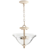 Spencer 13 inch Persian White Dual Mount Pendant Ceiling Light, Clear Seeded
