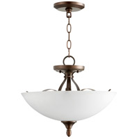 Quorum 2827-15-86 Jardin 3 Light 15 inch Oiled Bronze Dual Mount Pendant Ceiling Light