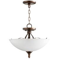Quorum 2827-15-86 Jardin 3 Light 15 inch Oiled Bronze Dual Mount Pendant Ceiling Light