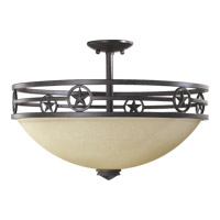 Quorum 2828-21-44 Lone Star 3 Light 20 inch Toasted Sienna Dual Mount Ceiling Light
