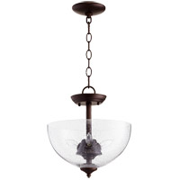 Quorum 2840-12-86 Fort Worth 3 Light 12 inch Oiled Bronze Dual Mount Ceiling Light