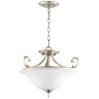 Quorum 2854-18-60 Bryant 18 inch Aged Silver Leaf Dual Mount Pendant Ceiling Light, Satin Opal