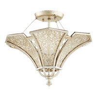 Bastille 3 Light 18 inch Aged Silver Leaf Semi-Flush Mount Ceiling Light