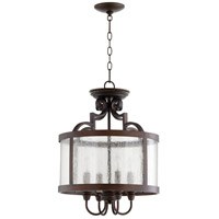 Quorum 2881-16-39 Champlain 16 inch Vintage Copper Dual Mount Pendant Ceiling Light, Clear Water Glass
