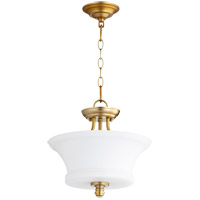 Quorum 2922-13-80 Rossington 2 Light 13 inch Aged Brass Dual Mount Ceiling Light
